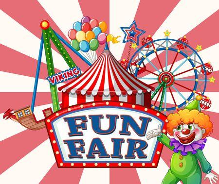 Poster design for fun fair with clown and many rides illustration Vektoros illusztráció