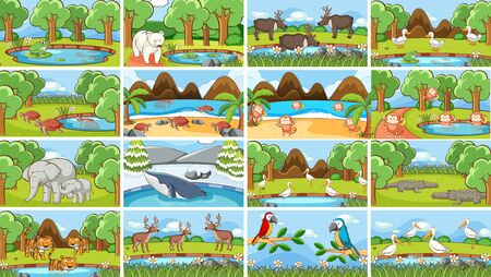 Background scenes of animals in the wild illustration Иллюстрация