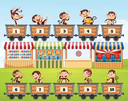 Counting numbers with monkeys in the carts illustration 版權商用圖片 - 137862991