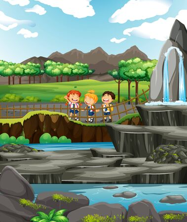 Scene with three kids at the waterfall illustration