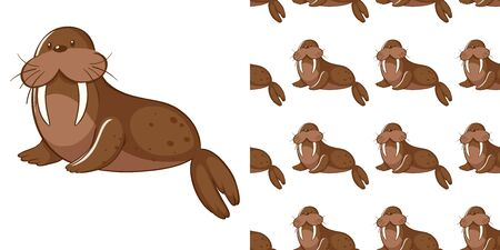 Seamless background design with cute sea lion illustration 向量圖像