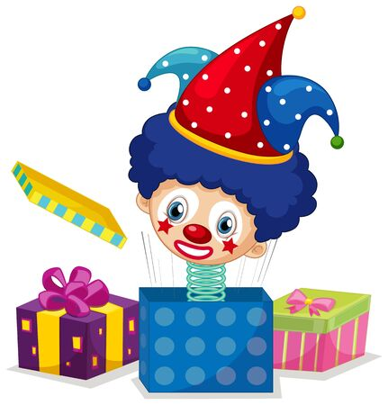 Jack in the box with clown head on white background illustration