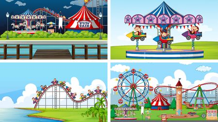 Four background scenes with happy monkeys in the circus park illustration