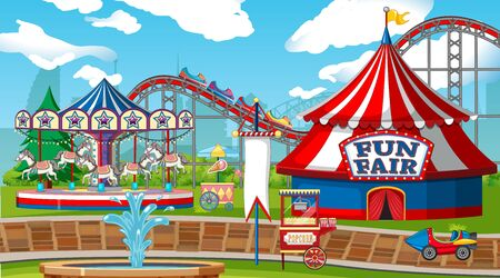 Scene with roller coaster and carousel in the fair illustration Illustration