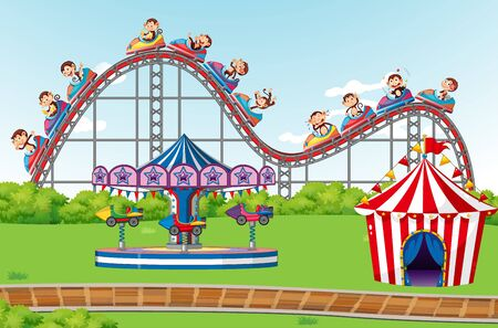 Scene with happy monkeys riding roller coaster in the park illustration