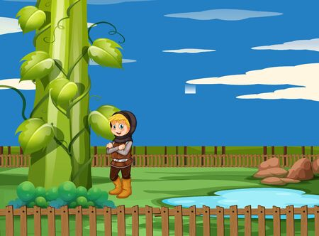 Scene with giant beanstalk and hunter illustration Illustration