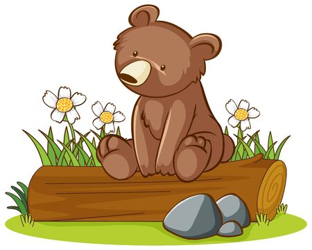 Isolated picture of cute bear illustration Illustration