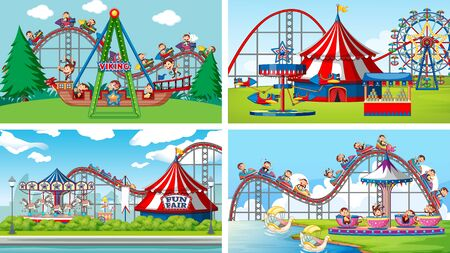 Four background scenes with happy monkeys riding in the park illustration Illustration