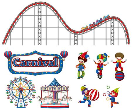 Large set of carnival items and clowns on white background illustration