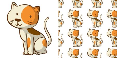 Seamless background design with cute cat illustration