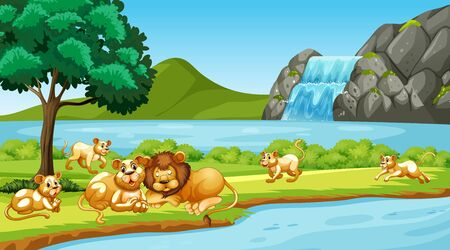 Scene with lions in the park illustration