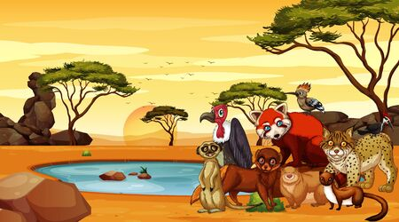 Scene with animals in desert illustration