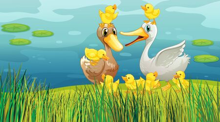 Scene with ducks and chicks by the pond illustration Ilustração