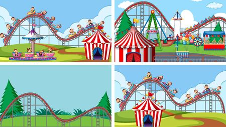 Four scenes with many rides in the fun fair illustration 版權商用圖片 - 137865861