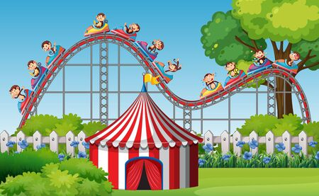 Scene with monkeys riding roller coaster in the park at day time illustration