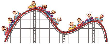 Happy monkeys riding on roller coaster on white background illustration