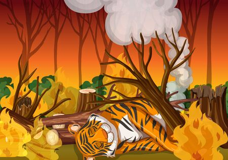 Scene with tiger and wild fire illustration