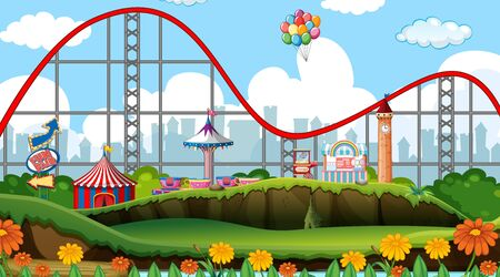 Scene with roller coaster and other rides in the park illustration