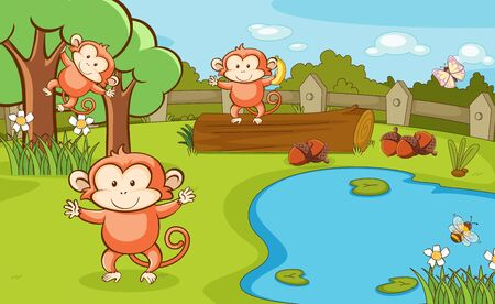 Scene with three monkeys in the park illustration