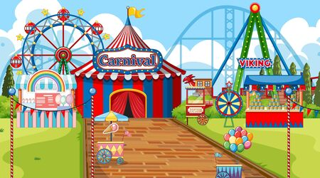 Scene with ferris wheel and other rides in the carnival illustration Illustration