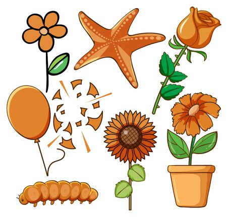 Set of flowers and other things in orange color illustration Illusztráció