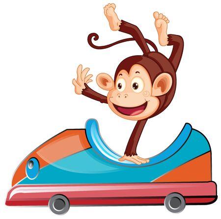 Monkey riding on toy car on white background illustration