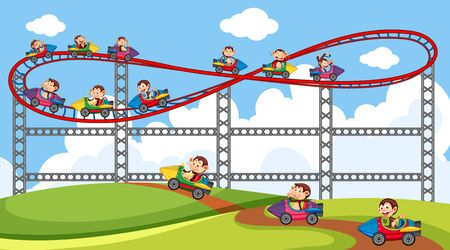 Scene with cute monkeys riding on roller coaster in the park illustration