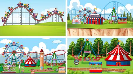 Four scenes with many rides in the fun fair illustration 版權商用圖片 - 137861601