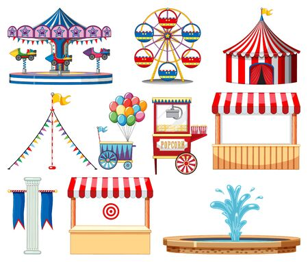 Set of circus items on white background illustration  イラスト・ベクター素材