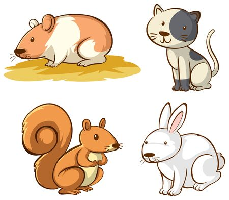 Isolated picture of cute animals illustration