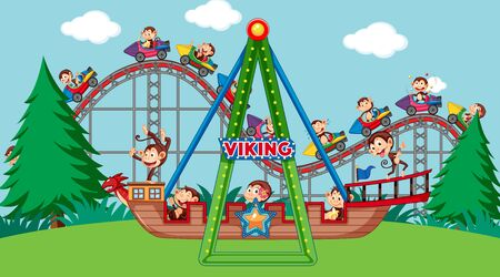 Scene with cute monkeys riding on viking ship and roller coaster illustration 版權商用圖片 - 137862671
