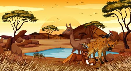Scene with many animals in the field illustration Ilustrace