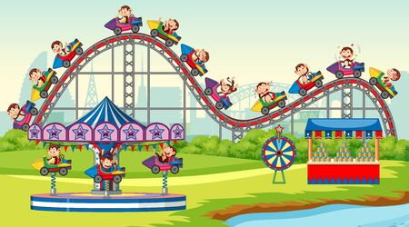 Scene with happy monkeys riding on roller coaster in the park illustration Illustration