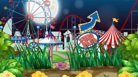 Scene with many rides in the fair at night time illustration