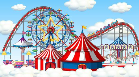 Scene with roller coaster and ferris wheel in the clouds illustration
