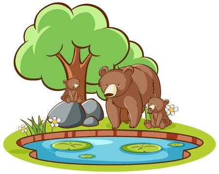 Isolated picture of grizzly bears by the pond illustration
