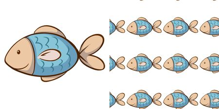 Seamless background design with little fish illustration
