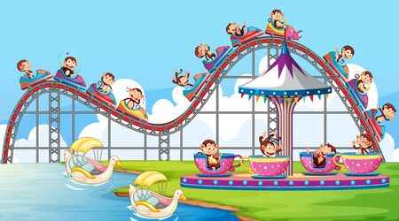 Scene with happy monkeys riding on roller coaster in the park illustration 版權商用圖片 - 137862828