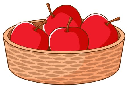 Korb mit roten Äpfeln auf weißer Hintergrundillustration Vektorgrafik