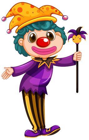 Clown drôle portant une chemise violette tenant une illustration de la baguette magique