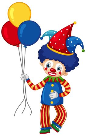 Circus clown character with colorful balloons on white background illustration