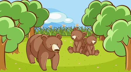 Scene with grizzly bears in forest illustration