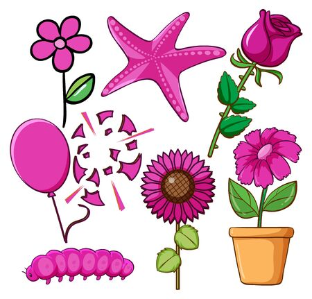 Set of flowers and other things in pink illustration