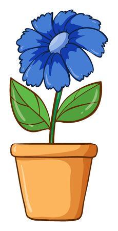 Single flower in clay pot illustration