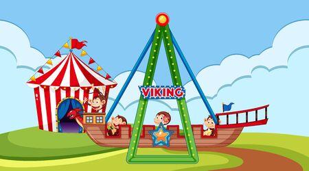 Escena con monos felices montando un barco vikingo en la ilustración del parque