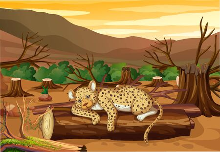 Pollution control scene with tiger and deforestation illustration