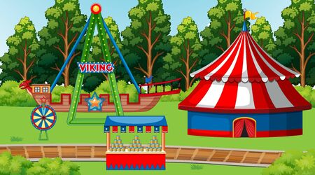 Background scene with circus ride and games in the park illustration Illustration