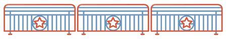 Fence design with bars and stars illustration Ilustração
