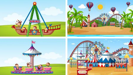 Four scenes with many rides in the fun fair illustration 版權商用圖片 - 137862701