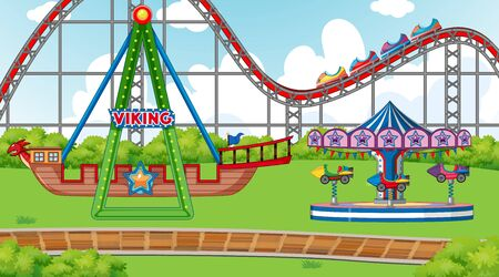 Scene with viking ship and roller coaster in the fair illustration